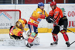 Zan Jezovsek of Jesenice and Frederic Cloutier of Asiago during ice hockey match between HDD SIJ Acroni Jesenice and Migross Supermercati Asiago Hockey in 2 game of Semifinal in AHL - Sky Alps Hockey League, on March 22, 2017 in Jesenice, Slovenia. Photo by Matic Klansek Velej / Sportida