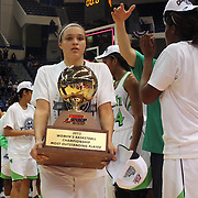 Kayla McBride, Notre Dame, with her 'Player of the Tournament' trophy after the Connecticut V Notre Dame Final match won by Notre Dame 61-59 during the Big East Conference, 2013 Women's Basketball Championships at the XL Center, Hartford, Connecticut, USA. 11th March. Photo Tim Clayton