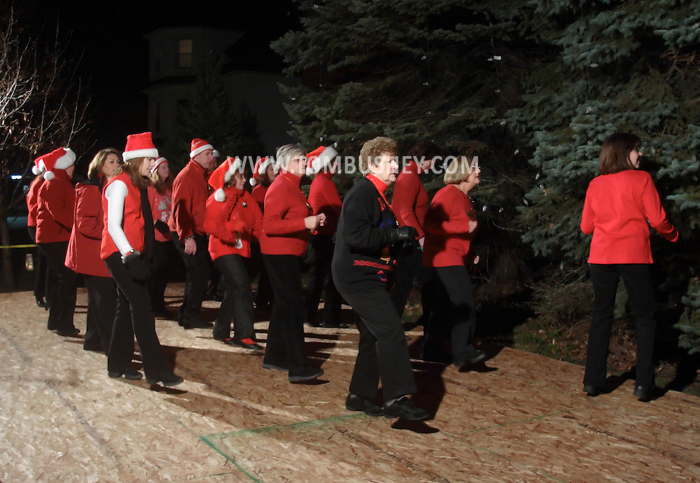 Pine Bush, NY -Members of the Not Just Country Line Dancers perform at the Pine Bush Festival of Lights holiday celebration on the evening of Dec. 1, 2008.
