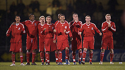 BRISTOL, ENGLAND - Thursday, January 15, 2009: Liverpool players celebrate a penalty goal by captain Joe Kennedy during the penalty shoot-out against Bristol Rovers during the FA Youth Cup match at the Memorial Stadium. L-R: Thomas Ince, Andre Wisdom, Chris Buchtmann, Jack Metcalf, Nathan Eccleston, James Ellison, Steven Irwin and Lauri Dalla Valle. (Mandatory credit: David Rawcliffe/Propaganda)