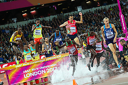 London, August 08 2017 . Evan Jager, USA, leads the field on lap 3 in the men's 3,000m steeplechase final on day five of the IAAF London 2017 world Championships at the London Stadium. © Paul Davey.