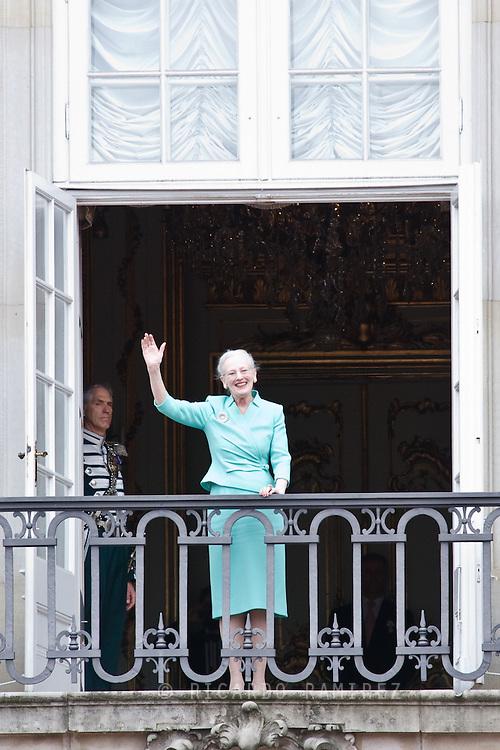 16.04.2015. Copenhagen, Denmark.Queen Margarethe II of Denmark waves from a balcony at Amalienborg Palace during festivities for her 75th birthday.Photo:© Ricardo Ramirez