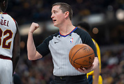 INDIANAPOLIS, IN - FEBRUARY 09: NBA referee Nick Buchert #3 is seen during the Indiana Pacers and Cleveland Cavaliers game at Bankers Life Fieldhouse on February 9, 2019 in Indianapolis, Indiana. NOTE TO USER: User expressly acknowledges and agrees that, by downloading and or using this photograph, User is consenting to the terms and conditions of the Getty Images License Agreement. (Photo by Michael Hickey/Getty Images) *** Local Caption *** Nick Buchert
