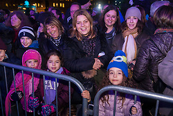 Trafalgar Square, London, December 16th 2014.  London's Jewish community celebrates Chanukah in the Square which marks the beginning of the Jewish festival of lights. The annual event is presented by the Jewish Leadership Council, London Jewish Forum and Chabad and is supported by the Mayor of London.  PICTURED: Chanukkah is an exciting day for young and old alike.