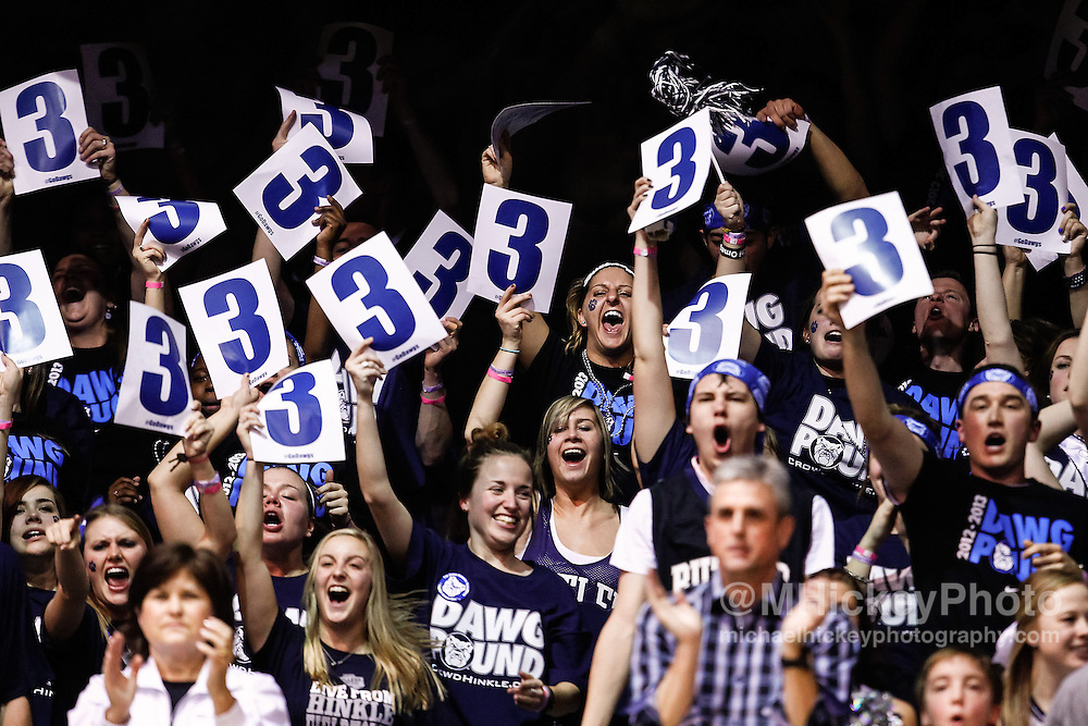 INDIANAPOLIS, IN - JANUARY 19: Butler University students seen in the stands during the game against the Gonzaga Bulldogs at Hinkle Fieldhouse on January 19, 2013 in Indianapolis, Indiana. Butler defeated Gonzaga 64-63. (Photo by Michael Hickey/Getty Images)