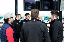 Klemen Pretnar, Ziga Pance, Jan Urbas, Andrej Hebar during departure to Budapest of Slovenian Ice Hockey National Team, on April 17, 2017 in Railway station, Ljubljana, Slovenia. Photo by Vid Ponikvar / Sportida