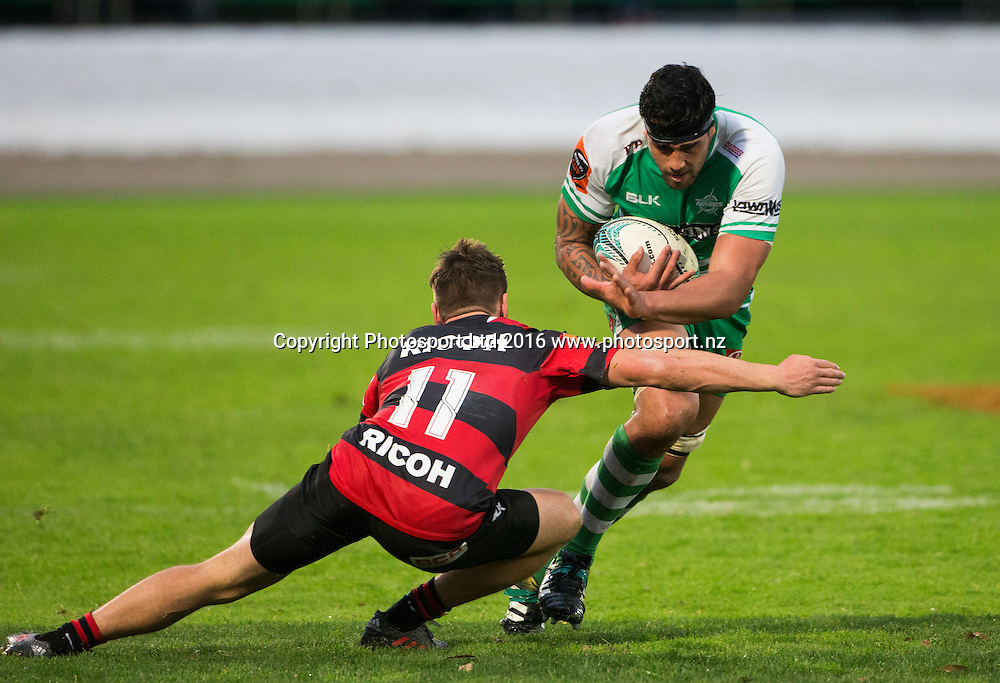 Manawatu's Heiden Bedwell-Curtis beats the tackle of George Bridge. Manawatu Turbo's v Canterbury, Mitre10 Cup rugby, CET Arena, Palmerston North, New Zealand. Saturday, 17 September, 2016. Copyright photo: John Cowpland / www.photosport.nz