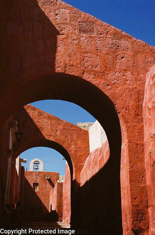 Arches in Santa Catalina Convent in Arequipa, Peru.