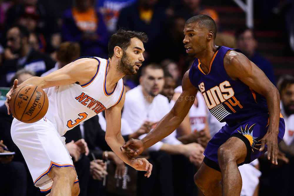Mar 9, 2016; Phoenix, AZ, USA; New York Knicks guard Jose Calderon (3) handles the ball against Phoenix Suns guard Ronnie Price (14) at Talking Stick Resort Arena. The Knicks defeated the Suns 128-97. Mandatory Credit: Jennifer Stewart-USA TODAY Sports