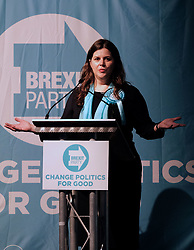 Brexit Party Rally, Edinburgh, Friday 17th May 2019<br /> <br /> The Brexit Party held a rally in the Corn Exchange, Edinburgh today with leader Nigel Farage giving a speech.<br /> <br /> A protest was held outside by the Stand Up To Racism group.<br /> <br /> Pictured: Brexit Party EU candidate Karina Walker<br /> <br /> Alex Todd | Edinburgh Elite media