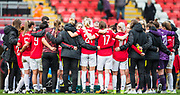 Manchester United Manager Casey Stoney talking with Manchester United FC following their 0-1 defeat during the FA Women's Super League match between Manchester United Women and Bristol City Women at Leigh Sports Village, Leigh, United Kingdom on 5 January 2020.