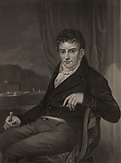 Robert Fulton (1765-1815) American engineer and inventor born in Lancaster County, Pennsylvania.  His steamboat 'Clermont' made a successful journey on the Hudson river from New York to Albany on 14 August 1807, heralding the beginning of commercial steamboat traffic. Engraving.