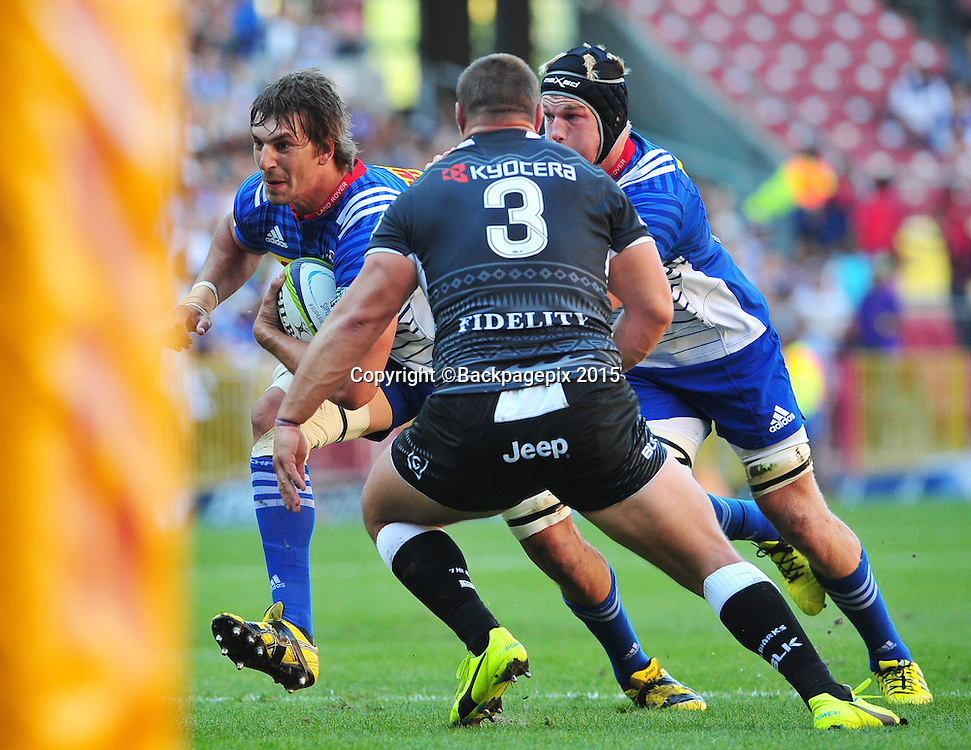 Eben Etzebeth of the Stormers drives forward with teammate Pieter-Steph du Toit in support as Coenie Oosthuizen of the Sharks looks on during the 2016 Super Rugby match between the Stormers and the Sharks at Newlands Stadium, Cape Town on 12 March 2016 ©Ryan Wilkisky/BackpagePix