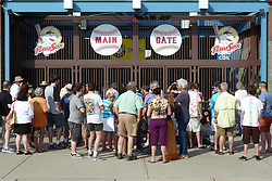 Crowd lined up at the Gate before the Show. Furthur Band at McCoy Stadium, Pawtucket RI on 5 July 2012
