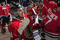 KELOWNA, CANADA - APRIL 25: The Portland Winterhawks celebrate the Western Conference title on April 25, 2014 during Game 5 of the third round of WHL Playoffs at Prospera Place in Kelowna, British Columbia, Canada. The Portland Winterhawks won 7 - 3 and took the Western Conference Championship for the fourth year in a row earning them a place in the WHL final.  (Photo by Marissa Baecker/Getty Images)  *** Local Caption ***