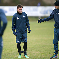 Danny Swanson pictured during training this morning at McDiarmid Park with Murray Davidson<br />Picture by Graeme Hart.<br />Copyright Perthshire Picture Agency<br />Tel: 01738 623350  Mobile: 07990 594431
