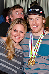 15.02.2013, Audi Media Lounge, AUT, FIS Weltmeisterschaften Ski Alpin, Schladming, im Bild Ted Ligety (USA, 1. Platz) mit Freundin // 1st place Ted Ligety (USA) with his girlfriend during FIS Ski World Championships 2013 at the Audi Media Lounge, Schladming, Austria on 2013/02/15. EXPA Pictures © 2013, PhotoCredit: EXPA/ Markus Casna
