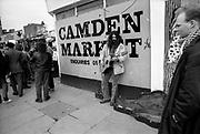 Busker in Camden, London, UK, 1980s.