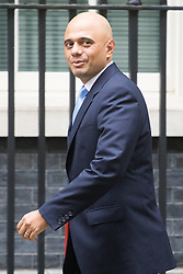 Downing Street, London, September 9th 2016.  Communities and Local Government Secretary Sajid Javid arrives at Downing street for the weekly cabinet meeting following the Parliamentary summer recess.