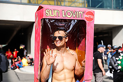 October 5, 2018 - New York, New York, U.S. - Cosplayer arrives wrapped in 'Ken' box during Comic Con at Javits Convention Center in New York. (Credit Image: © William Volcov/ZUMA Wire)
