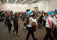 Alisal Community Arts Network musicians give Christmas greetings to attendees at the December 5th, 2017 opening of the Stories from Salinas exhibition at the CSUMB Salinas Center for Arts and Culture in Oldtown. The exhibition celebrates the mentors, youth and families of the Salinas Youth Initiative.
