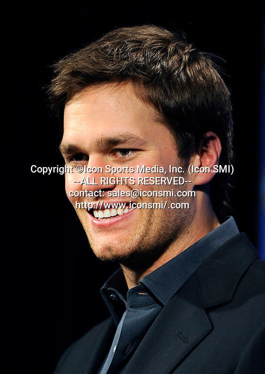 18 January 2008: New England Patriots quarterback Tom Brady addresses the media about the AFC Championship game during a press conference at Gillette Stadium in Foxborough, Massachusetts