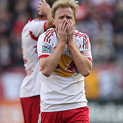 Dax McCarty, New York Red Bulls, reacts to a foul call during the New York Red Bulls Vs New England Revolution, MLS Eastern Conference Final, first leg at Red Bull Arena, Harrison, New Jersey. USA. 23rd November 2014. Photo Tim Clayton