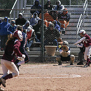 Caravel Academy Pitcher Holly Brooks (6) attempts to make contact with ball during a varsity scheduled game between Caravel Academy and The Delmar Wildcats Saturday, April 4, 2015, at Caravel Athletic Field in Bear Delaware.