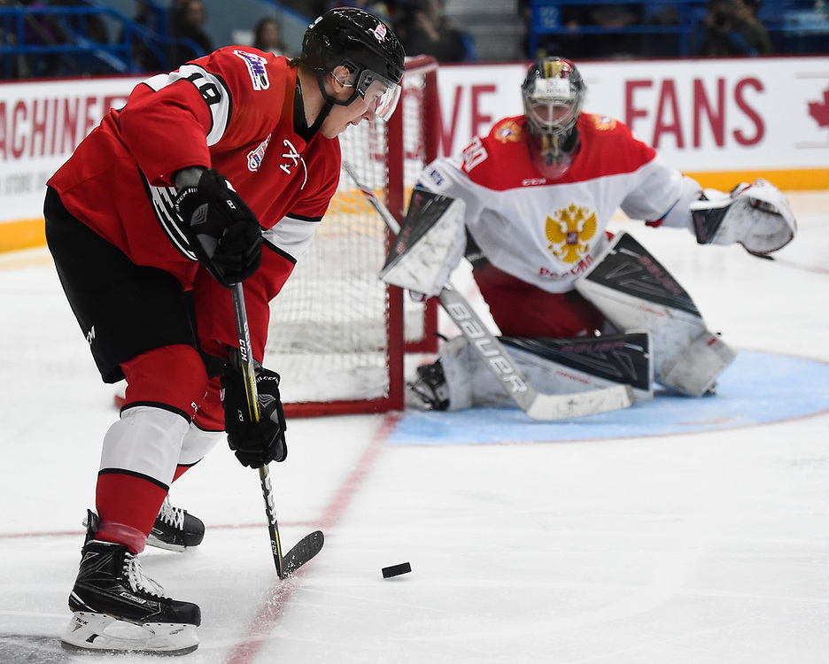 Action from Game 4 of the CIBC Canada Russia Series in Sudbury, ON on Monday November 13, 2017. Photo by Aaron Bell/CHL Images