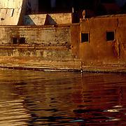 Rusty barge in Gloucseter,MA harbor