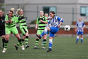 Brighton's Charlotte Gurr has a shot blocked by the FGR defenders  during the FA Women's Premier League match between Forest Green Rovers Ladies and Brighton Ladies at the Hartpury College, United Kingdom on 24 January 2016. Photo by Shane Healey.