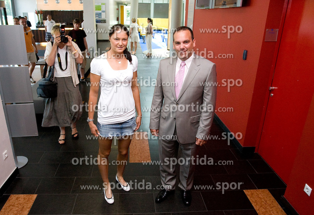 Number one world women player Dinara Safina of Russia and Andrej Bizjak at press conference before Banka Koper Slovenia Open 2009 of Sony Ericsson WTA tour in Portoroz,  on July 16, 2009, in Ljubljana, Slovenia. (Photo by Vid Ponikvar / Sportida)