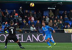 January 12, 2019 - Valencia, Valencia, Spain - Angel of Getafe scores a goal during the La Liga Santander match between Villarreal and Getafe at La Ceramica Stadium on Jenuary 12, 2019 in Vila-real, Spain. (Credit Image: © AFP7 via ZUMA Wire)