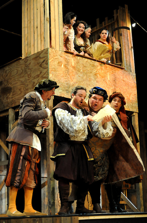 "Bag & Baggage's production of ""Taming of the Shrew, or the Woman's Prize"" in February 2010. (photo by Casey Campbell)"