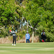 26 March 2018: Georgia Lacey hits an approach shot on the eight hole during the opening round of the March Mayhem Tournament hosted by SDSU at the Farms Golf Club in Rancho Santa Fe, California. <br /> More game action at sdsuaztecphotos.com