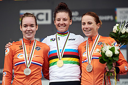 Top three: Chloe Dygert (USA), Anna van der Breggen (NED) and Annemiek van Vleuten (NED) at UCI Road World Championships 2019 Elite Women's TT a 30.3 km individual time trial from Ripon to Harrogate, United Kingdom on September 24, 2019. Photo by Sean Robinson/velofocus.com