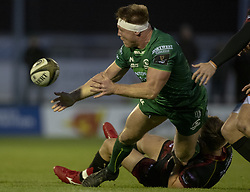 November 3, 2018 - Galway, Ireland - Tom McCartney of Connacht tackled by Will Talbot Davies of Dragons during the Guinness PRO14 match between Connacht Rugby and Dragons at the Sportsground in Galway, Ireland on November 3, 2018  (Credit Image: © Andrew Surma/NurPhoto via ZUMA Press)