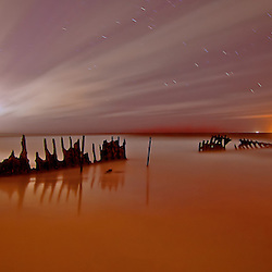 Time Exposure, 4 mins of dickeys beach Ship Wreck on the Sunshine Coast by jaydon cabe