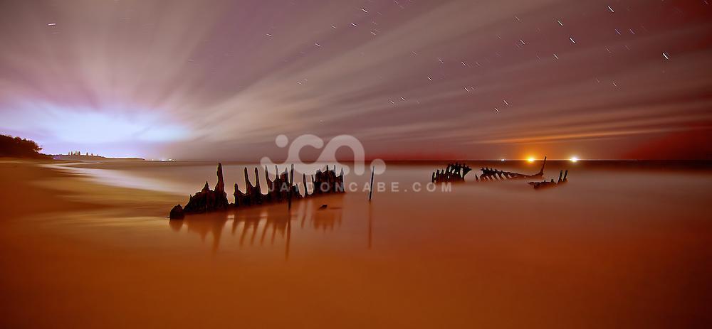 Time Exposure, 4 mins of dickeys beach Ship Wreck on the Sunshine Coast by jaydon cabe