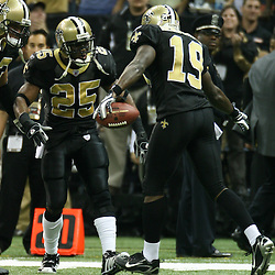 2007 December, 2: New Orleans Saints wide receiver Devery Henderson (19) celebrates after a touchdown catch with teammate Reggie Bush (25) during a 27-23 win by the Tampa Bay Buccaneers over the New Orleans Saints at the Louisiana Superdome in New Orleans, LA.