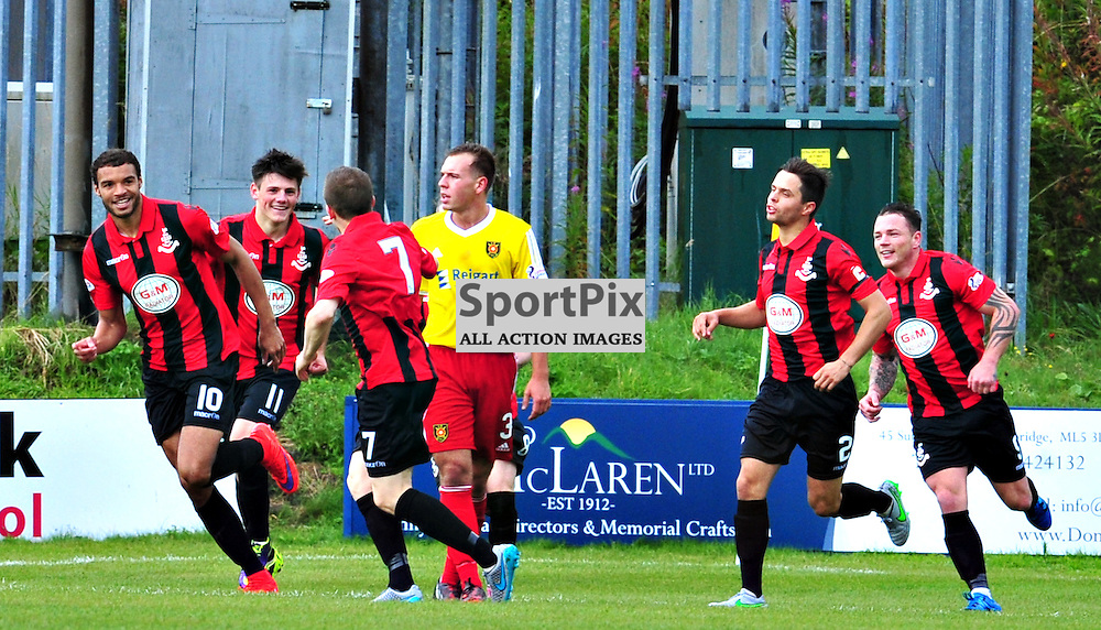 Taylor Morgan of Airdrie celebrates his club's opening goal with his team mates.....(c) BILLY WHITE | SportPix.org.uk