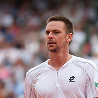 31 May 2009: Robin Soderling of Sweden is seen during the men's Singles fourth round match on day eight of the French Open at Roland Garros in Paris, France.