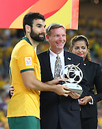 Mile Jedinak collects the fair play award on behalf of the Australian team during the AFC Asian Cup match at Stadium Australia, Sydney<br /> Picture by Steven Gibson/Focus Images Ltd +61 413 768835<br /> 31/01/2015