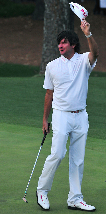 April 8, 2012 - Augusta, Georgia, U.S. - Bubba Watson waves his visor after winning the 2012 Masters Tournament at Augusta National Golf Club on April 8, 2012, in Augusta, Ga.