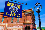 The Gold Dust Cafe and street lamp, Jacksonville, Oregon USA