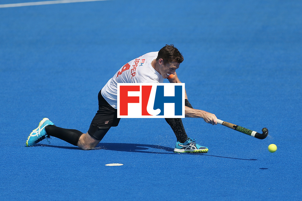 LONDON, ENGLAND - JUNE 19: Tupper Scott of Canada scores his sides first goal from the penalty spot during the Hero Hockey World League Semi-Final match between Netherlands and Canada at Lee Valley Hockey and Tennis Centre on June 19, 2017 in London, England. (Photo by Alex Morton/Getty Images)