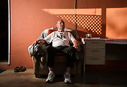 Every morning Cedomir Bogunovic, 75, waits on his midtown porch for the sun to rise, Tucson, Arizona, USA.