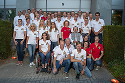 Team Belgium for WEG Tryon<br /> Philippaerts Ludo, Detry Stefan, Demeersman Dirk, Wauters Yolande, Le Jeune Philippe<br /> Team presentation for WEG Tryon 2018<br /> Zaventem 2018<br /> © Hippo Foto - Dirk Caremans<br /> 22/08/2018