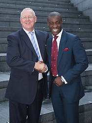 "© licensed to London News Pictures. London, UK  05/07/2011. Portrait of Simon Waugh, Executive Chairman of the National Apprenticeship Service and Tim Campbell, Apprenticeship Ambassador and former BBC ""The Apprentice"" winner. Mayor of London Boris Johnson was joined by more than 150 apprentices and employers to celebrate beating his target of creating 20,000 apprenticeship opportunities in the capital. Working in partnership with the National Apprenticeship Service (NAS), the Mayor's campaign has seen a total of 28,120 people finding places on schemes with companies across a wide range of the capital's business sectors. The 20,000 target has been smashed three months early and by almost 50 per cent. Please see special instructions for usage rates. Photo credit should read Bettina Strenske/LNP"