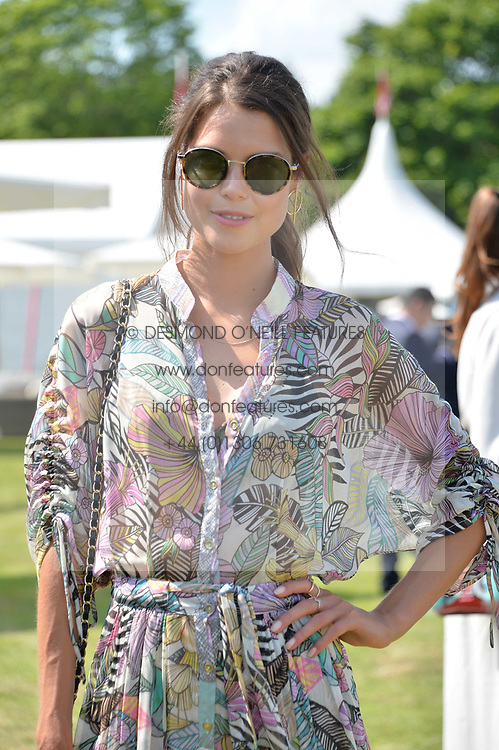 Sarah Ann Macklin at Cartier Queen's Cup Polo, Guard's Polo Club, Berkshire, England. 18 June 2017.<br /> Photo by Dominic O'Neill/SilverHub 0203 174 1069 sales@silverhubmedia.com